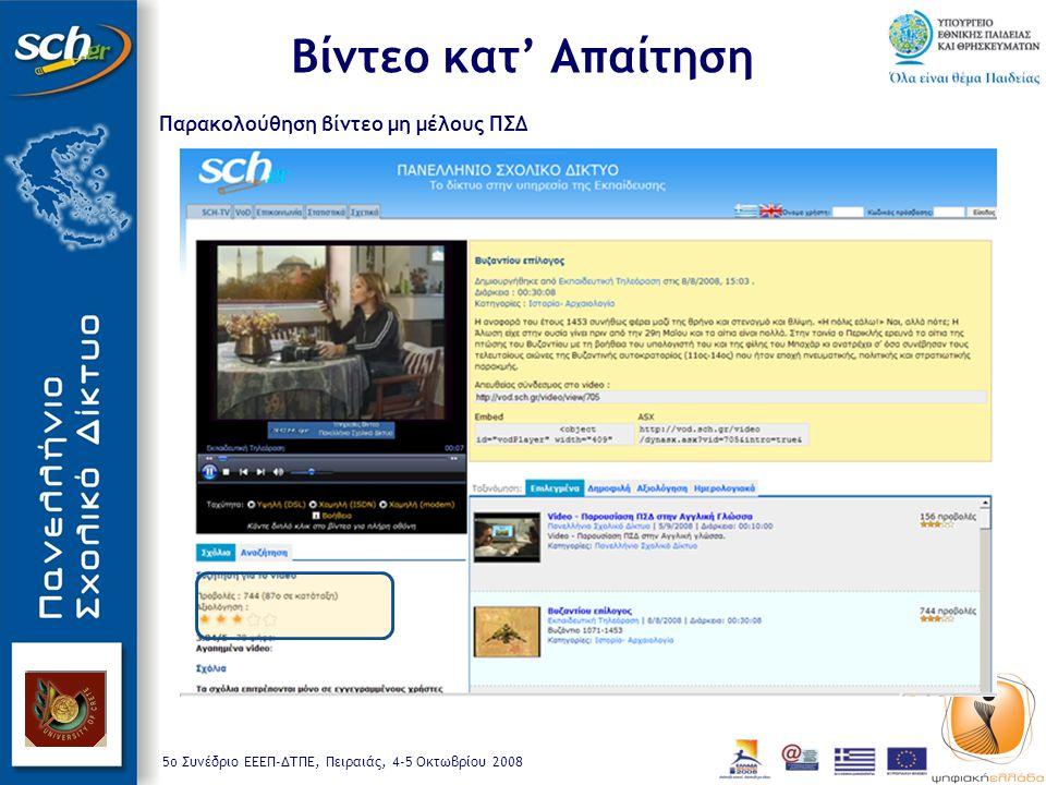 5o Συνέδριο ΕΕΕΠ-ΔΤΠΕ, Πειραιάς, 4-5 Οκτωβρίου 2008 Παρακολούθηση βίντεο μη μέλους ΠΣΔ Βίντεο κατ' Απαίτηση
