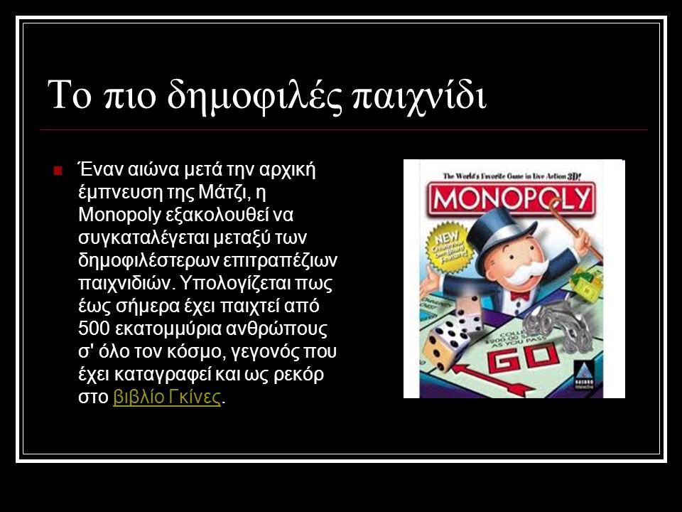 Το πιο δημοφιλές παιχνίδι Έναν αιώνα μετά την αρχική έμπνευση της Μάτζι, η Monopoly εξακολουθεί να συγκαταλέγεται μεταξύ των δημοφιλέστερων επιτραπέζιων παιχνιδιών.