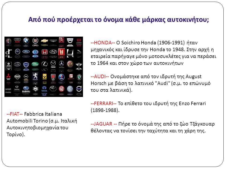 Από πού προέρχεται το όνομα κάθε μάρκας αυτοκινήτου ; --HONDA-- Ο Soichiro Honda (1906-1991) ήταν μηχανικός και ίδρυσε την Honda το 1948. Στην αρχή η