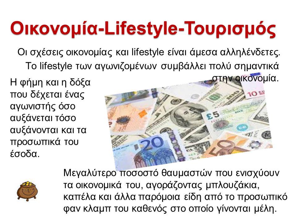Οικονομία-Lifestyle-Τουρισμός Οι σχέσεις οικονομίας και lifestyle είναι άμεσα αλληλένδετες. Το lifestyle των αγωνιζομένων συμβάλλει πολύ σημαντικά στη