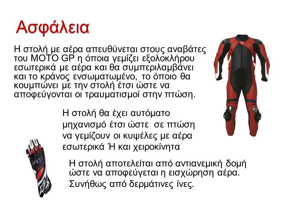 Ασφάλεια Η στολή με αέρα απευθύνεται στους αναβάτες του ΜΟΤΟ GP η όποια γεμίζει εξολοκλήρου εσωτερικά με αέρα και θα συμπεριλαμβάνει και το κράνος ενσ