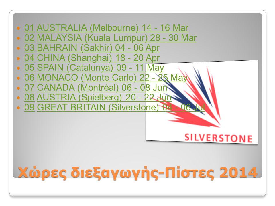 Χώρες διεξαγωγής-Πίστες 2014 01 AUSTRALIA (Melbourne) 14 - 16 Mar 01AUSTRALIA (Melbourne) 14 - 16 Mar 02 MALAYSIA (Kuala Lumpur) 28 - 30 Mar 02MALAYSI