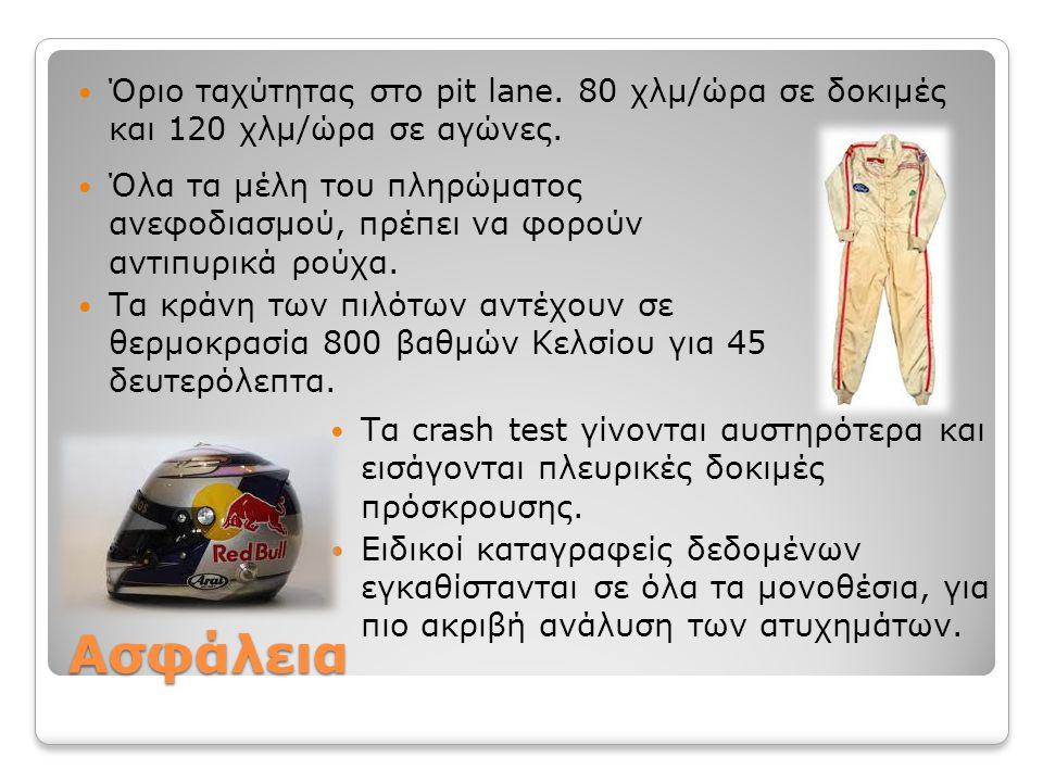 Ασφάλεια Όριο ταχύτητας στο pit lane. 80 χλμ/ώρα σε δοκιμές και 120 χλμ/ώρα σε αγώνες. Τα crash test γίνονται αυστηρότερα και εισάγονται πλευρικές δοκ