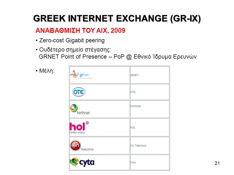 GREEK INTERNET EXCHANGE (GR-IX) 21 ΑΝΑΒΑΘΜΙΣΗ ΤΟΥ ΑΙΧ, 2009 Zero-cost Gigabit peering Ουδέτερο σημείο στέγασης: GRNET Point of Presence – PoP @ Εθνικό Ίδρυμα Ερευνών Μέλη: