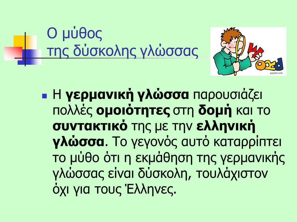 Παραδείγματα Τα γερμανικά έχουν τρία γένη (αρσενικό, θηλυκό, ουδέτερο) Τα γερμανικά είναι κλιτή γλώσσα (άρθρα, αντωνυμίες, επίθετα, ουσιαστικά και ρήματα κλίνονται όπως και στα ελληνικά) Στα γερμανικά υπάρχει η Δοτική (πτώση που γνωρίζουμε από τα αρχαία ελληνικά)