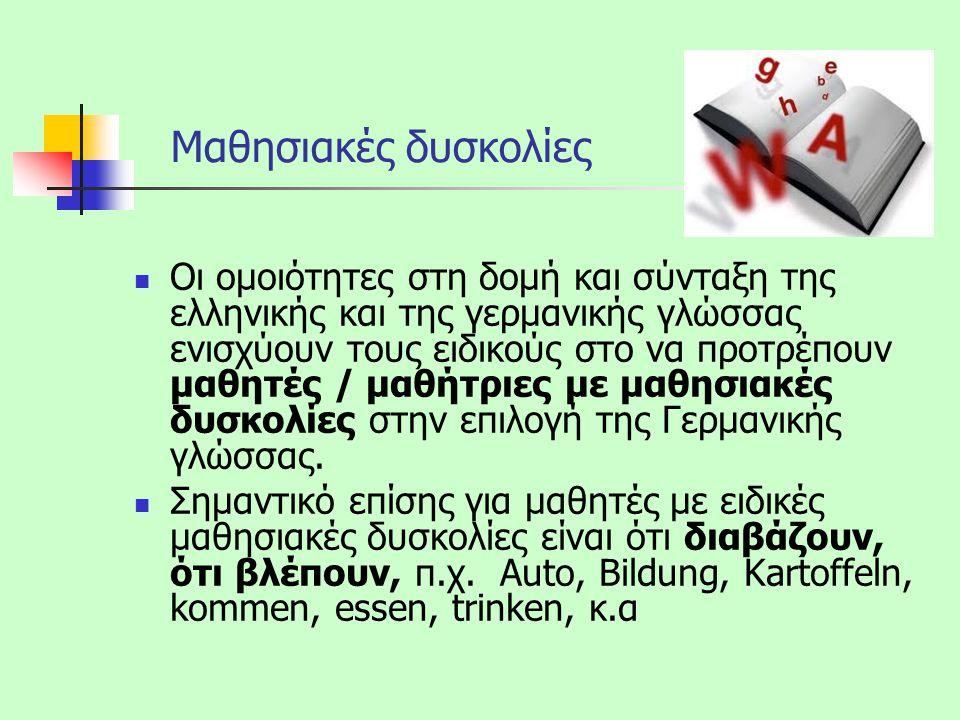 My name is John = Mein Name ist Jan = Εμόν όνομα ἐστί Γιάννης Η Αγγλική, η Γερμανική και η ελληνική γλώσσα είναι συγγενικές γλώσσες, συνεπώς πολλές λέξεις έχουν κοινή ρίζα και ετυμολογία και μπορεί να τις κατανοήσει κανείς εύκολα.