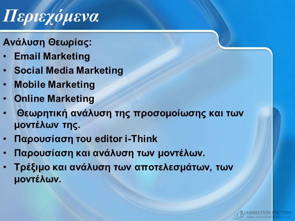 Περιεχόμενα Ανάλυση Θεωρίας: Email Marketing Social Media Marketing Mobile Marketing Online Marketing Θεωρητική ανάλυση της προσομοίωσης και των μοντέλων της.