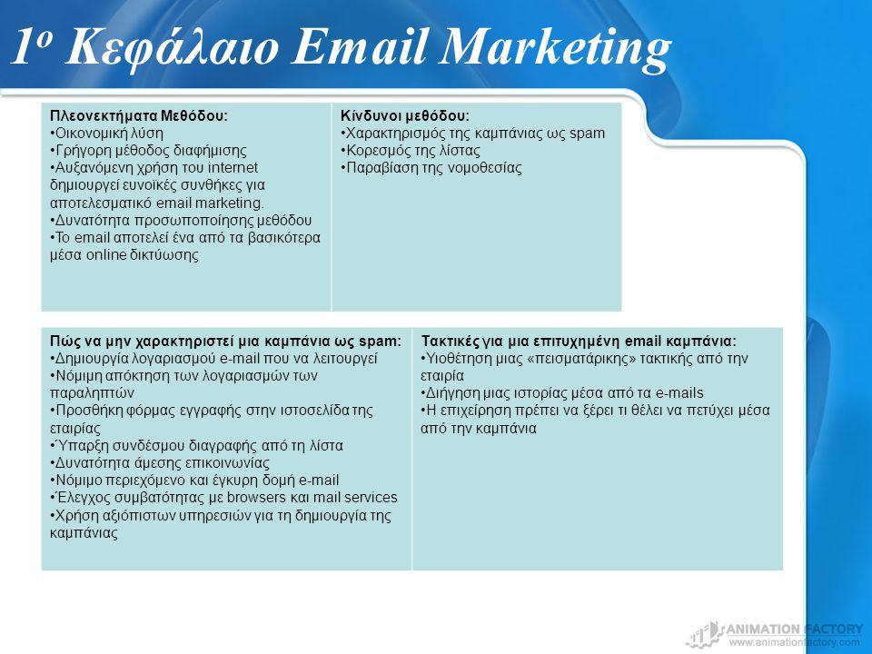 1 ο Κεφάλαιο Email Marketing Πλεονεκτήματα Μεθόδου: Οικονομική λύση Γρήγορη μέθοδος διαφήμισης Αυξανόμενη χρήση του internet δημιουργεί ευνοϊκές συνθήκες για αποτελεσματικό email marketing.