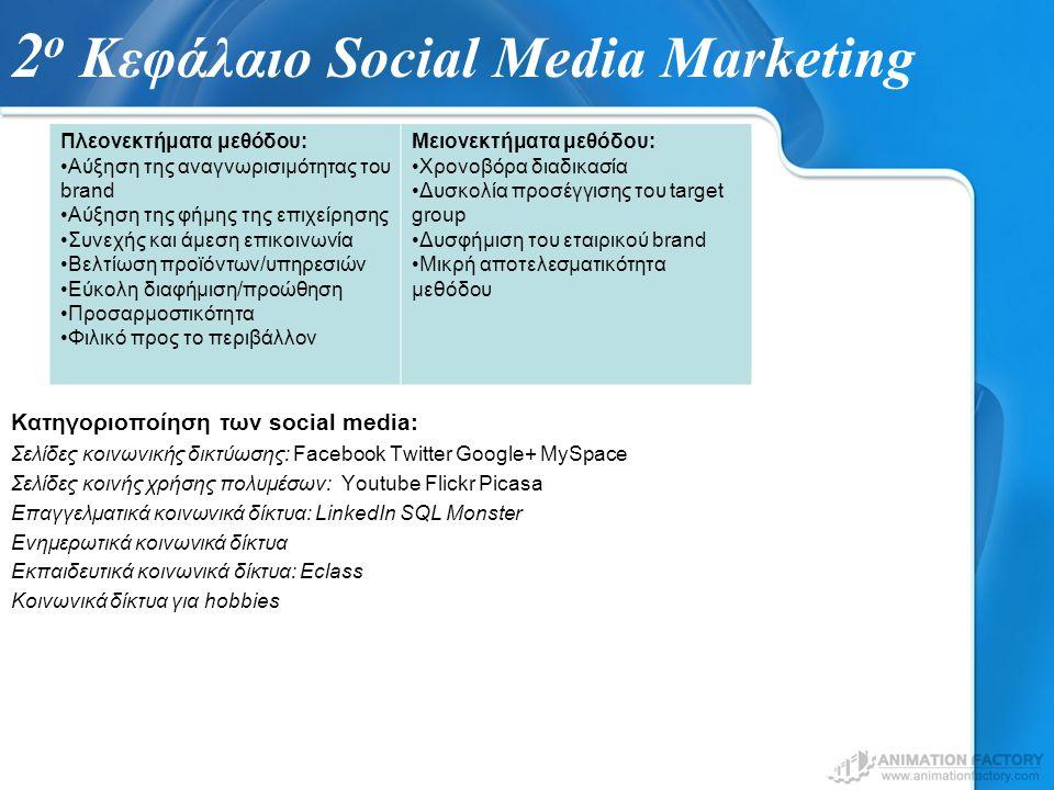 2 ο Κεφάλαιο Social Media Marketing Κατηγοριοποίηση των social media: Σελίδες κοινωνικής δικτύωσης: Facebook Twitter Google+ MySpace Σελίδες κοινής χρ