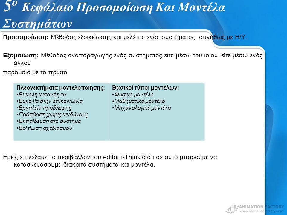 5 ο Κεφάλαιο Προσομοίωση Και Μοντέλα Συστημάτων Προσομοίωση: Μέθοδος εξοικείωσης και μελέτης ενός συστήματος, συνήθως με Η/Υ. Εξομοίωση: Μέθοδος αναπα