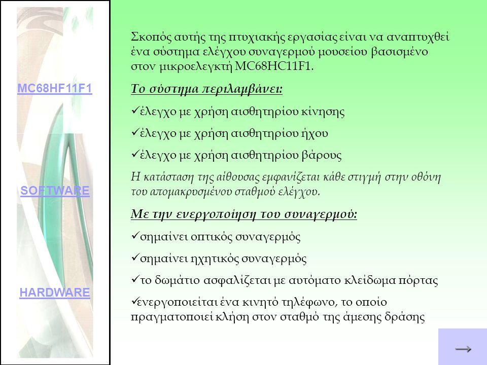 →→→→ Κυριότερα χαρακτηριστικά του 8-bit μικροελεγκτή MC68HC11F1 : 512 bytes EEPROM 1024 bytes RAM 6 πόρτες των 8-bit 1 πόρτα των 6-bit Ενσωματωμένη ασύγχρονη διασύνδεση σειριακής επικοινωνίας (Serial Communication Interface - SCI) Ενσωματωμένη σύγχρονη σειριακή περιφερειακή διασύνδεση (Serial Peripheral Interface - SPI) Οκτακάναλος 8-bit μετατροπέας σήματος αναλογικού σε ψηφιακό (A/D Converter) MC68HF11F1 SOFTWARE HARDWARE