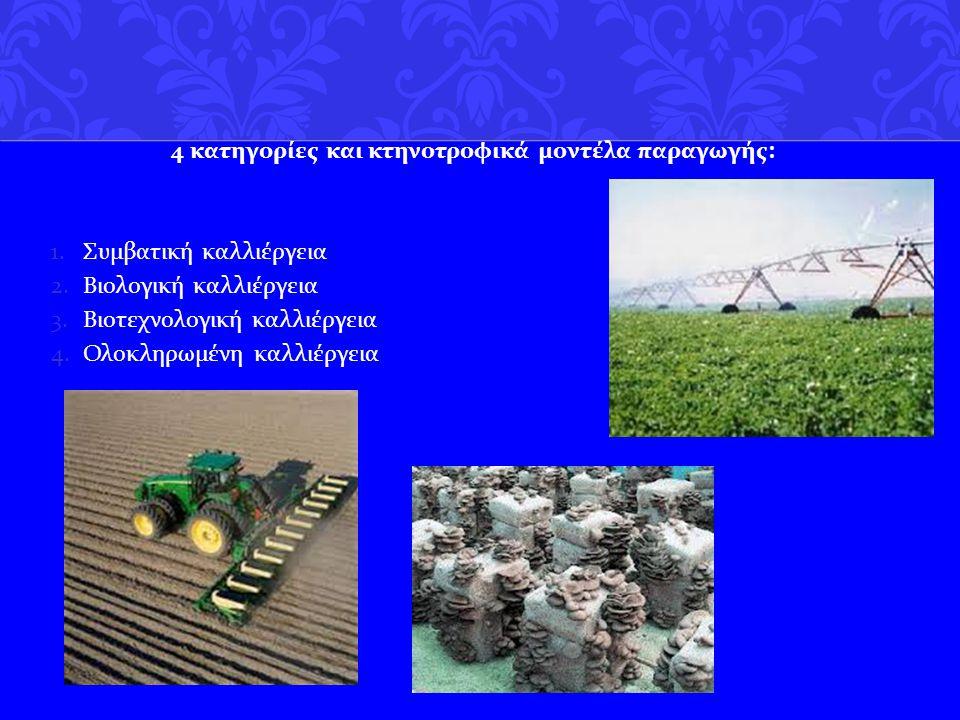 4 κατηγoρίες και κτηνοτροφικά μοντέλα παραγωγής : 1.Συμβατική καλλιέργεια 2.Βιολογική καλλιέργεια 3.Βιοτεχνολογική καλλιέργεια 4.Ολοκληρωμένη καλλιέργ