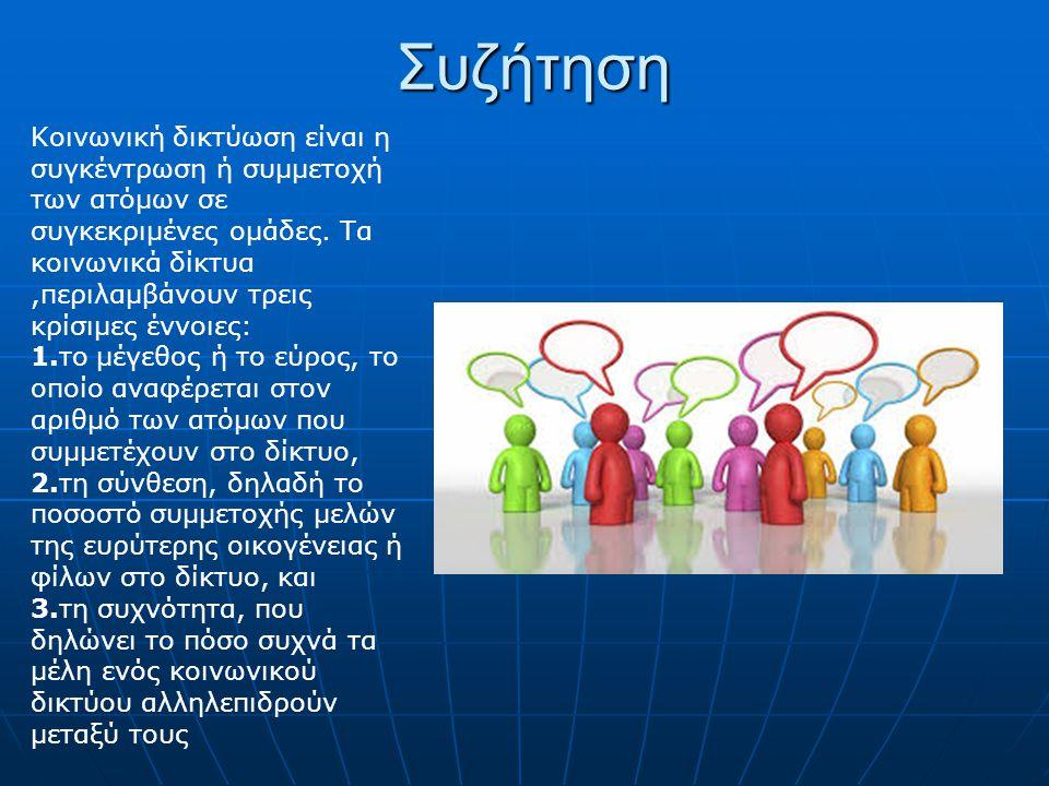Συζήτηση Κοινωνική δικτύωση είναι η συγκέντρωση ή συμμετοχή των ατόμων σε συγκεκριμένες ομάδες. Τα κοινωνικά δίκτυα,περιλαμβάνουν τρεις κρίσιμες έννοι
