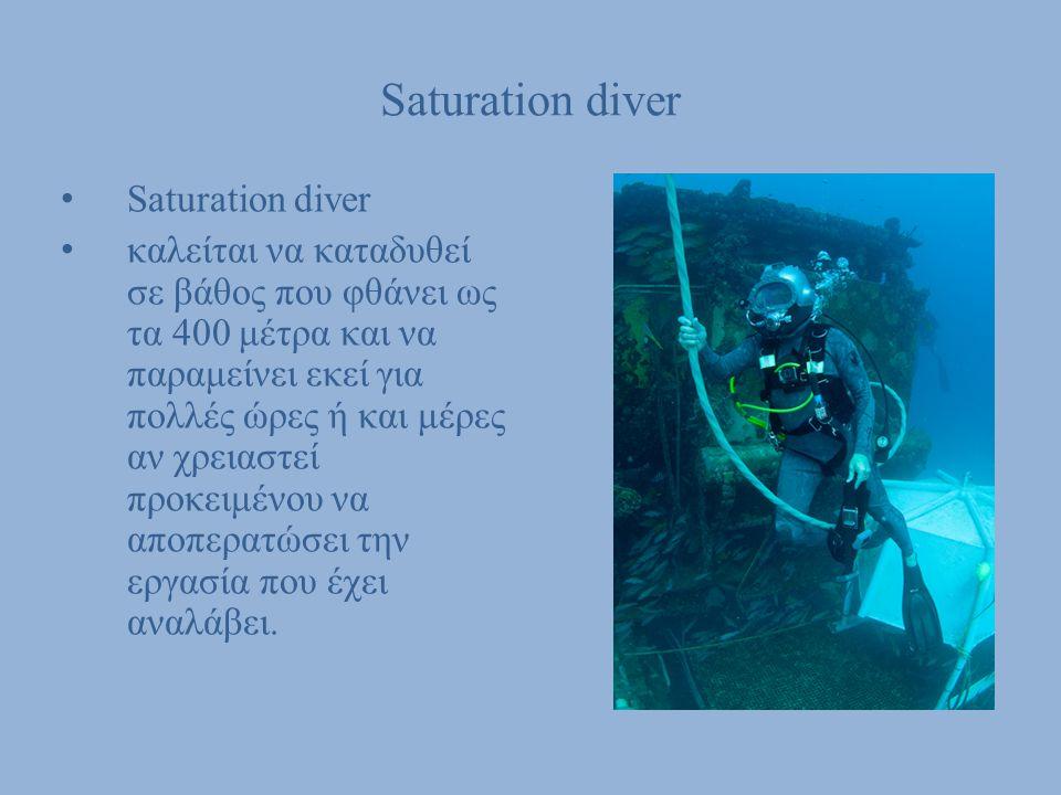 Saturation diver καλείται να καταδυθεί σε βάθος που φθάνει ως τα 400 μέτρα και να παραμείνει εκεί για πολλές ώρες ή και μέρες αν χρειαστεί προκειμένου
