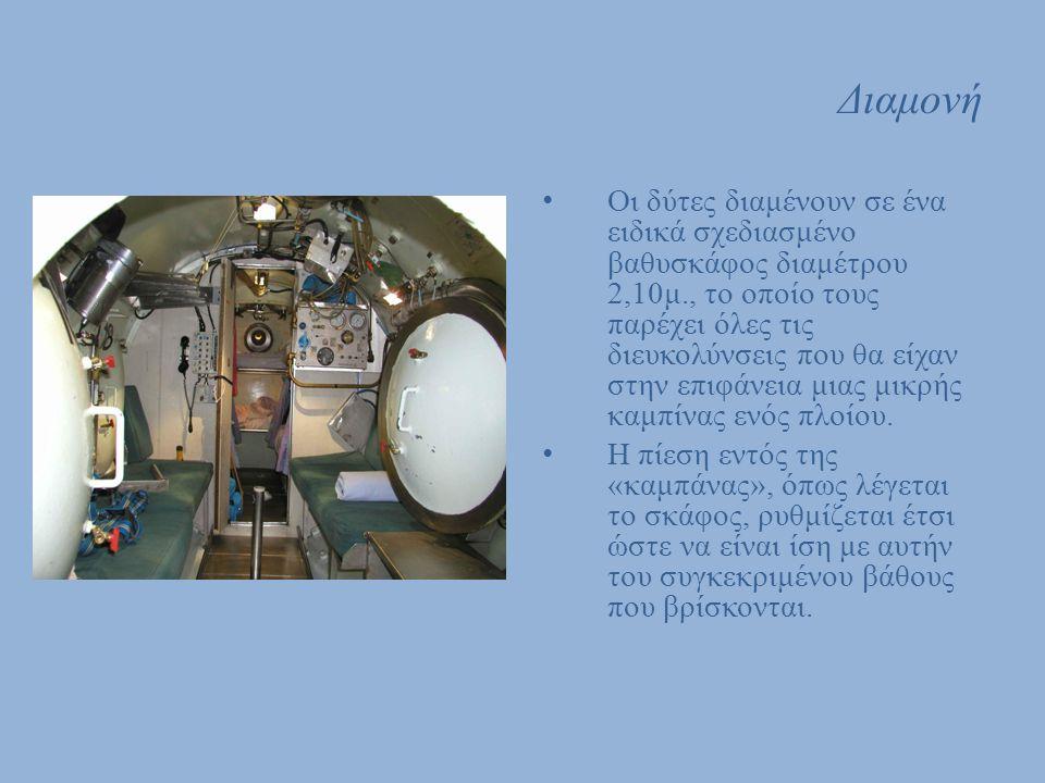 Διαμονή Οι δύτες διαμένουν σε ένα ειδικά σχεδιασμένο βαθυσκάφος διαμέτρου 2,10μ., το οποίο τους παρέχει όλες τις διευκολύνσεις που θα είχαν στην επιφά