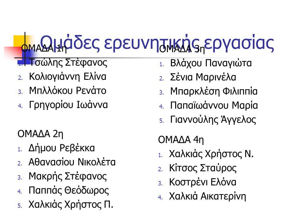 Ομάδες ερευνητικής εργασίας ΟΜΑΔΑ 1η 1. Τσώλης Στέφανος 2. Κολιογιάννη Ελίνα 3. Μπλλόκου Ρενάτο 4. Γρηγορίου Ιωάννα ΟΜΑΔΑ 2η 1. Δήμου Ρεβέκκα 2. Αθανα