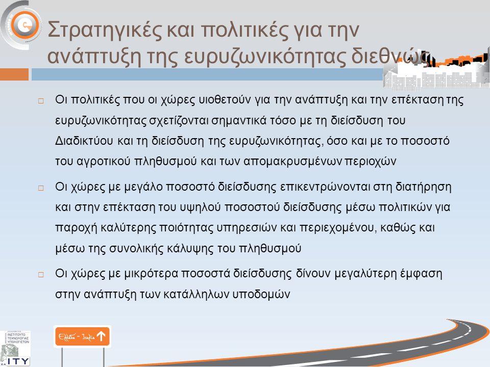 Στρατηγικές και πολιτικές για την ανάπτυξη της ευρυζωνικότητας διεθνώς  Οι πολιτικές που οι χώρες υιοθετούν για την ανάπτυξη και την επέκταση της ευρ