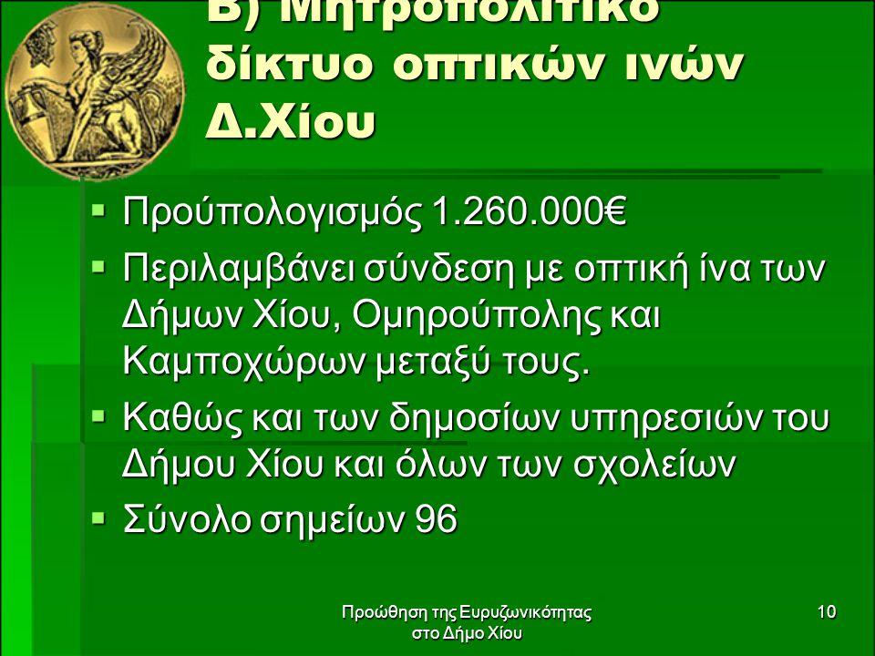 Προώθηση της Ευρυζωνικότητας στο Δήμο Χίου 10 Β) Μητροπολιτικό δίκτυο οπτικών ινών Δ.Χίου  Προύπολογισμός 1.260.000€  Περιλαμβάνει σύνδεση με οπτική ίνα των Δήμων Χίου, Ομηρούπολης και Καμποχώρων μεταξύ τους.
