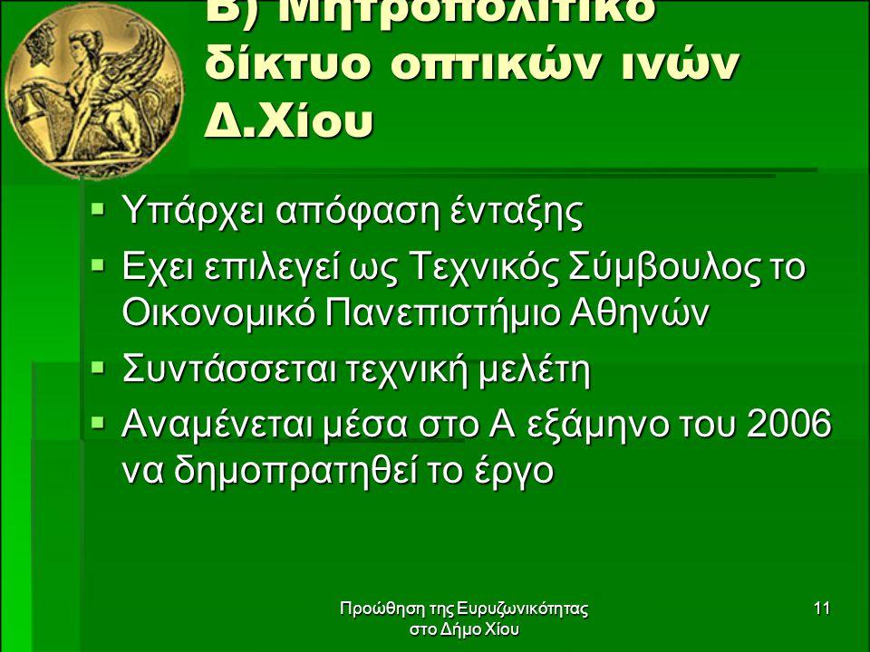 Προώθηση της Ευρυζωνικότητας στο Δήμο Χίου 11 Β) Μητροπολιτικό δίκτυο οπτικών ινών Δ.Χίου  Υπάρχει απόφαση ένταξης  Εχει επιλεγεί ως Τεχνικός Σύμβουλος το Οικονομικό Πανεπιστήμιο Αθηνών  Συντάσσεται τεχνική μελέτη  Αναμένεται μέσα στο Α εξάμηνο του 2006 να δημοπρατηθεί το έργο