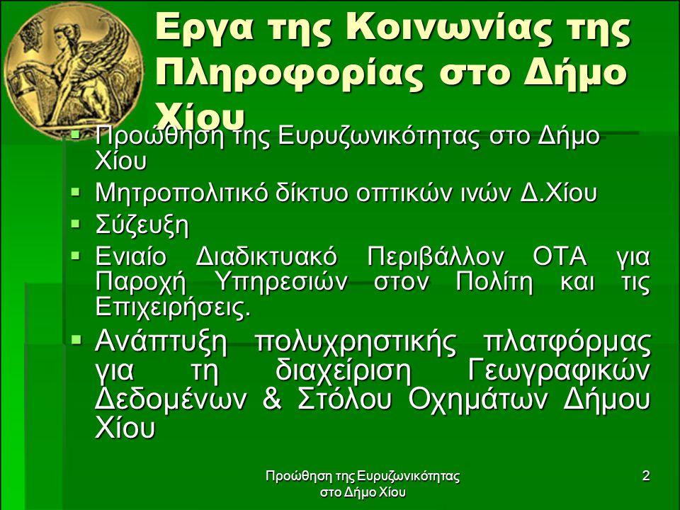 Προώθηση της Ευρυζωνικότητας στο Δήμο Χίου 2 Εργα της Κοινωνίας της Πληροφορίας στο Δήμο Χίου  Προώθηση της Ευρυζωνικότητας στο Δήμο Χίου  Μητροπολι