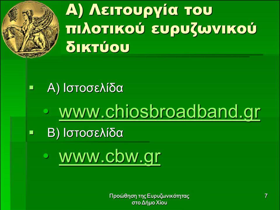 Προώθηση της Ευρυζωνικότητας στο Δήμο Χίου 7 Α) Λειτουργία του πιλοτικού ευρυζωνικού δικτύου  Α) Ιστοσελίδα www.chiosbroadband.grwww.chiosbroadband.grwww.chiosbroadband.gr  Β) Ιστοσελίδα www.cbw.grwww.cbw.grwww.cbw.gr