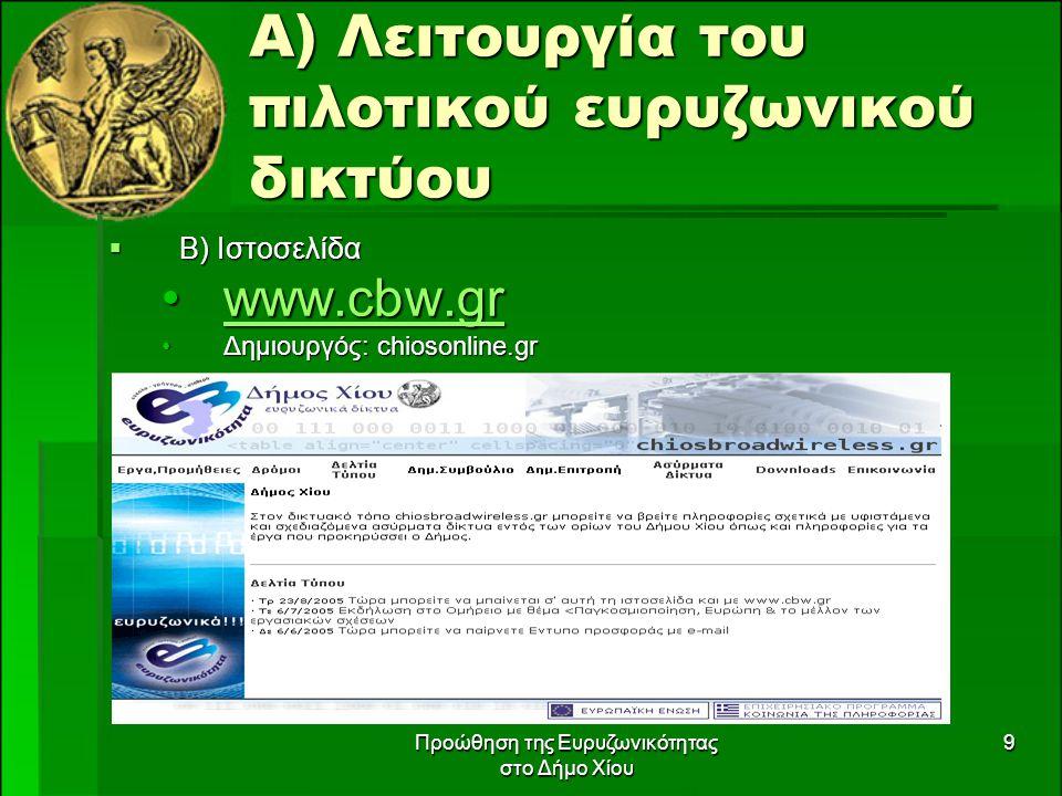 Προώθηση της Ευρυζωνικότητας στο Δήμο Χίου 9 Α) Λειτουργία του πιλοτικού ευρυζωνικού δικτύου  Β) Ιστοσελίδα www.cbw.grwww.cbw.grwww.cbw.gr Δημιουργός: chiosonline.grΔημιουργός: chiosonline.gr