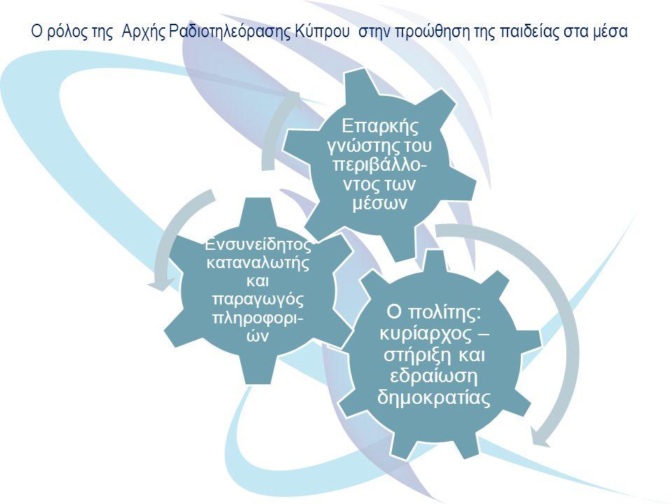 Ο ρόλος της Αρχής Ραδιοτηλεόρασης Κύπρου στην προώθηση της παιδείας στα μέσα Ο πολίτης: κυρίαρχος – στήριξη και εδραίωση δημοκρατίας Ενσυνείδητος καταναλωτής και παραγωγός πληροφορι- ών Επαρκής γνώστης του περιβάλλο- ντος των μέσων