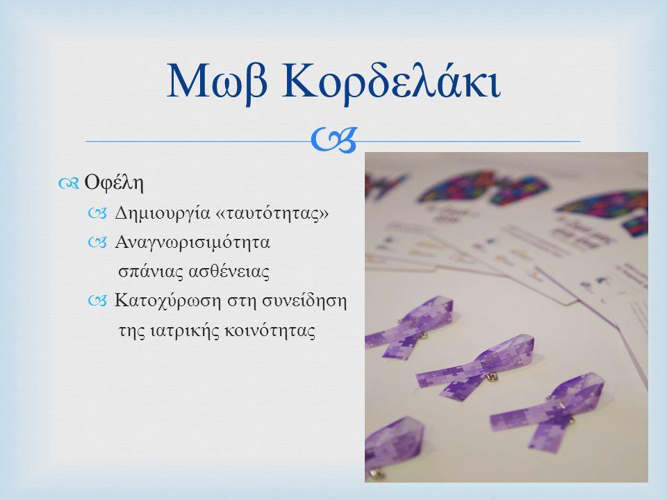   Οφέλη  Δημιουργία « ταυτότητας »  Αναγνωρισιμότητα σπάνιας ασθένειας  Κατοχύρωση στη συνείδηση της ιατρικής κοινότητας Μωβ Κορδελάκι