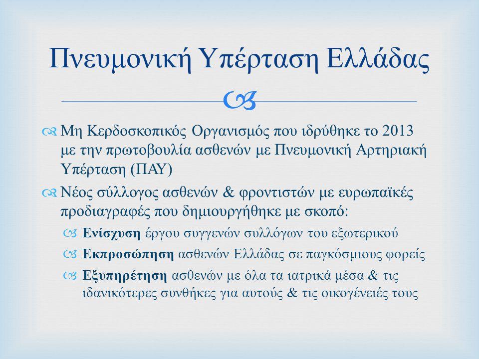   Μη Κερδοσκοπικός Οργανισμός που ιδρύθηκε το 2013 με την πρωτοβουλία ασθενών με Πνευμονική Αρτηριακή Υπέρταση ( ΠΑΥ )  Νέος σύλλογος ασθενών & φροντιστών με ευρωπαϊκές προδιαγραφές που δημιουργήθηκε με σκοπό :  Ενίσχυση έργου συγγενών συλλόγων του εξωτερικού  Εκπροσώπηση ασθενών Ελλάδας σε παγκόσμιους φορείς  Εξυπηρέτηση ασθενών με όλα τα ιατρικά μέσα & τις ιδανικότερες συνθήκες για αυτούς & τις οικογένειές τους Πνευμονική Υπέρταση Ελλάδας