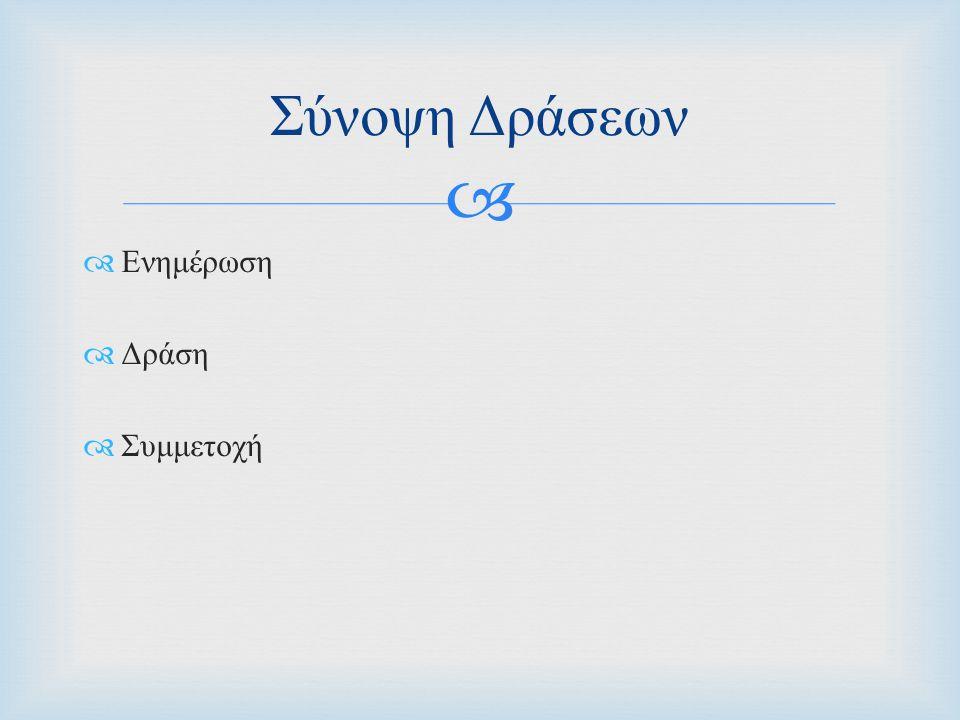   Παρουσία σε τηλεοπτική εκπομπή με αφιέρωμα τις Σπάνιες Παθήσεις  Συνεντεύξεις Τύπου με ειδικούς γιατρούς  Ενημέρωση κοινού σε μεγάλους δήμους των Αθηνών  « Επικοινωνόντας τη Σπανιότητα »  έντυπο Ενημέρωσης για τους σπάνιους ασθενείς που οδήγησε στην συνένωση συλλόγων & μεμονομένων ασθενών με όφελος τον καλύτερο αύριο όλων μας  Νεό website Ενημέρωση