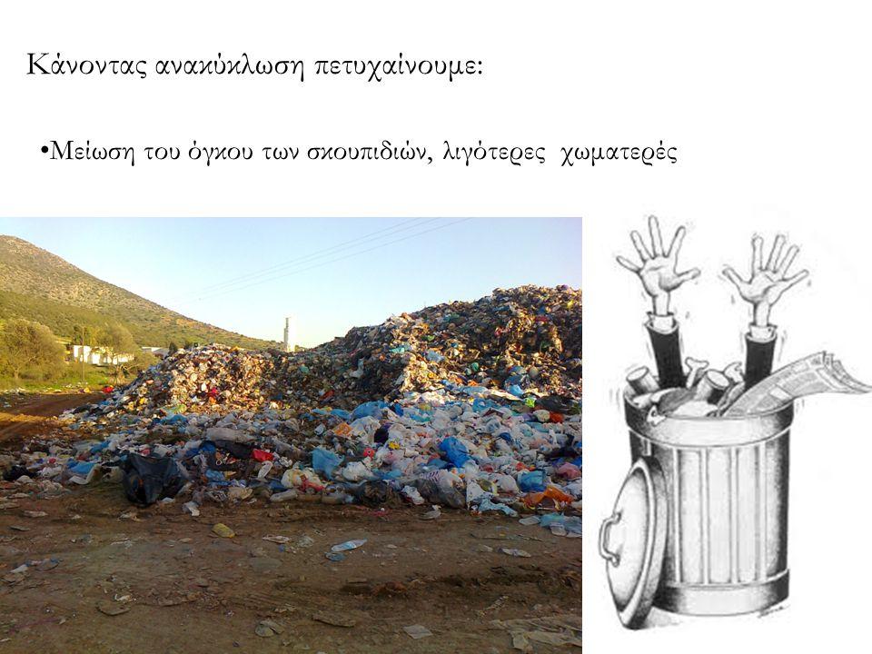 Εξοικονόμηση πρώτων υλών (δένδρα, πετρέλαιο, νερό, μεταλλεύματα κλπ) Κάνοντας ανακύκλωση πετυχαίνουμε:
