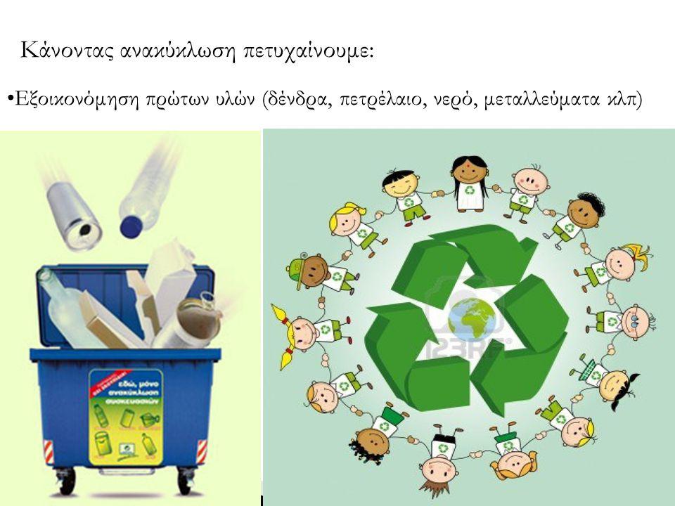 Περιορισμός της ρύπανσης του περιβάλλοντος(έδαφος, αέρας, υπόγεια νερά) Κάνοντας ανακύκλωση πετυχαίνουμε: