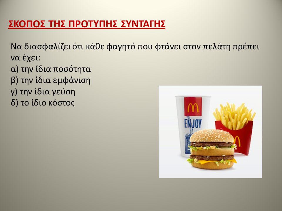 Να διασφαλίζει ότι κάθε φαγητό που φτάνει στον πελάτη πρέπει να έχει: α) την ίδια ποσότητα β) την ίδια εμφάνιση γ) την ίδια γεύση δ) το ίδιο κόστος ΣΚ