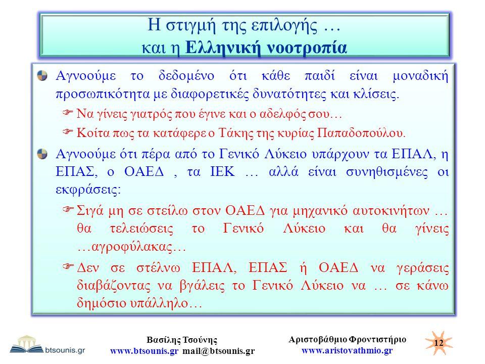 Αριστοβάθμιο Φροντιστήριο www.aristovathmio.gr Βασίλης Τσούνης www.btsounis.gr mail@btsounis.gr Η στιγμή της επιλογής … και η Ελληνική νοοτροπία Αγνοο