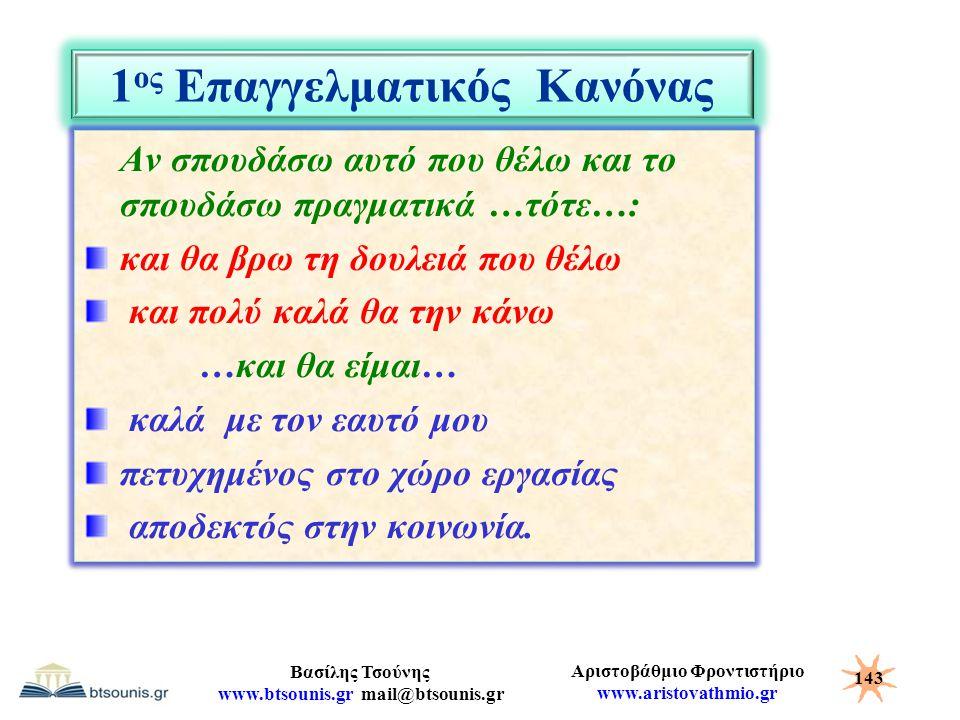 Αριστοβάθμιο Φροντιστήριο www.aristovathmio.gr Βασίλης Τσούνης www.btsounis.gr mail@btsounis.gr 1 ος Επαγγελματικός Κανόνας Αν σπουδάσω αυτό που θέλω