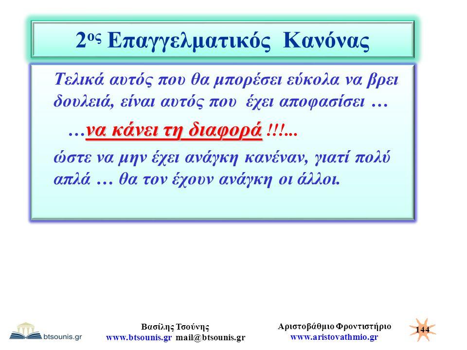 Αριστοβάθμιο Φροντιστήριο www.aristovathmio.gr Βασίλης Τσούνης www.btsounis.gr mail@btsounis.gr 2 ος Επαγγελματικός Κανόνας Τελικά αυτός που θα μπορέσ