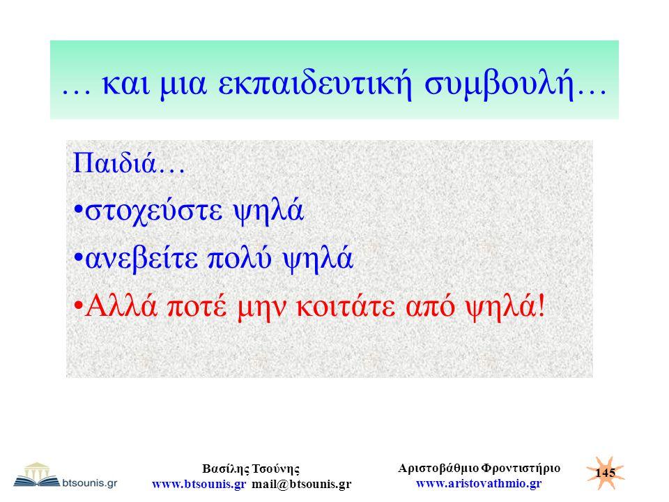 Αριστοβάθμιο Φροντιστήριο www.aristovathmio.gr Βασίλης Τσούνης www.btsounis.gr mail@btsounis.gr … και μια εκπαιδευτική συμβουλή … Παιδιά… στοχεύστε ψη