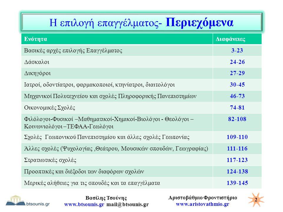 Αριστοβάθμιο Φροντιστήριο www.aristovathmio.gr Βασίλης Τσούνης www.btsounis.gr mail@btsounis.gr Η επιλογή επαγγέλματος- Περιεχόμενα ΕνότηταΔιαφάνειες