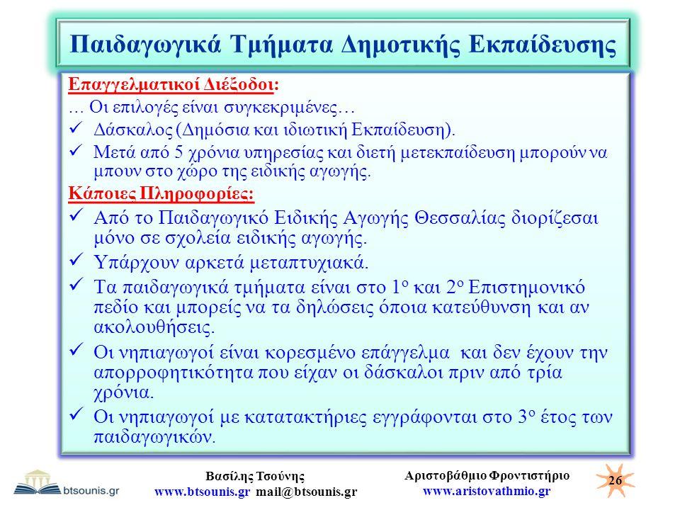 Αριστοβάθμιο Φροντιστήριο www.aristovathmio.gr Βασίλης Τσούνης www.btsounis.gr mail@btsounis.gr Παιδαγωγικά Τμήματα Δημοτικής Εκπαίδευσης Επαγγελματικ