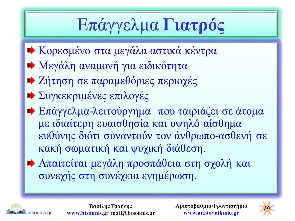 Αριστοβάθμιο Φροντιστήριο www.aristovathmio.gr Βασίλης Τσούνης www.btsounis.gr mail@btsounis.gr Επάγγελμα Γιατρός Κορεσμένο στα μεγάλα αστικά κέντρα Μ