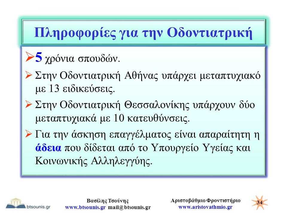 Αριστοβάθμιο Φροντιστήριο www.aristovathmio.gr Βασίλης Τσούνης www.btsounis.gr mail@btsounis.gr Πληροφορίες για την Οδοντιατρική  5 χρόνια σπουδών. 