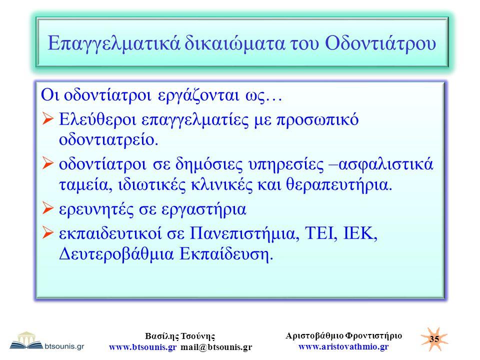 Αριστοβάθμιο Φροντιστήριο www.aristovathmio.gr Βασίλης Τσούνης www.btsounis.gr mail@btsounis.gr Επαγγελματικά δικαιώματα του Οδοντιάτρου Οι οδοντίατρο