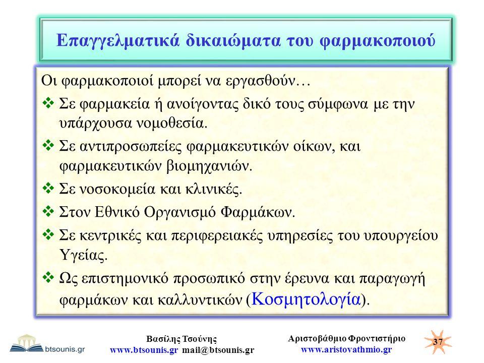 Αριστοβάθμιο Φροντιστήριο www.aristovathmio.gr Βασίλης Τσούνης www.btsounis.gr mail@btsounis.gr Επαγγελματικά δικαιώματα του φαρμακοποιού Οι φαρμακοπο