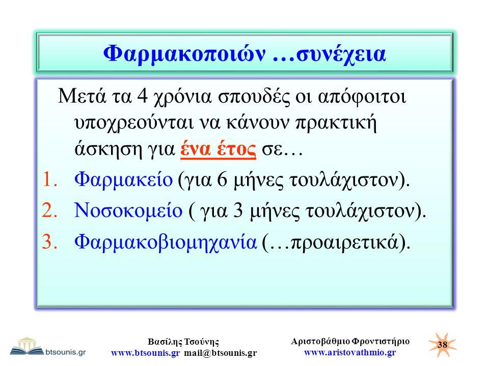 Αριστοβάθμιο Φροντιστήριο www.aristovathmio.gr Βασίλης Τσούνης www.btsounis.gr mail@btsounis.gr Φαρμακοποιών …συνέχεια Μετά τα 4 χρόνια σπουδές οι από