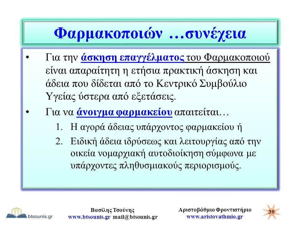 Αριστοβάθμιο Φροντιστήριο www.aristovathmio.gr Βασίλης Τσούνης www.btsounis.gr mail@btsounis.gr Φαρμακοποιών …συνέχεια Για την άσκηση επαγγέλματος του