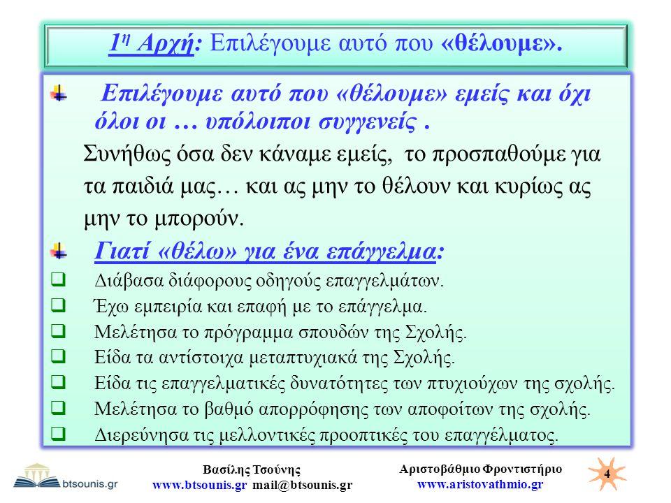 Αριστοβάθμιο Φροντιστήριο www.aristovathmio.gr Βασίλης Τσούνης www.btsounis.gr mail@btsounis.gr 1 η Αρχή: Επιλέγουμε αυτό που «θέλουμε». Επιλέγουμε αυ