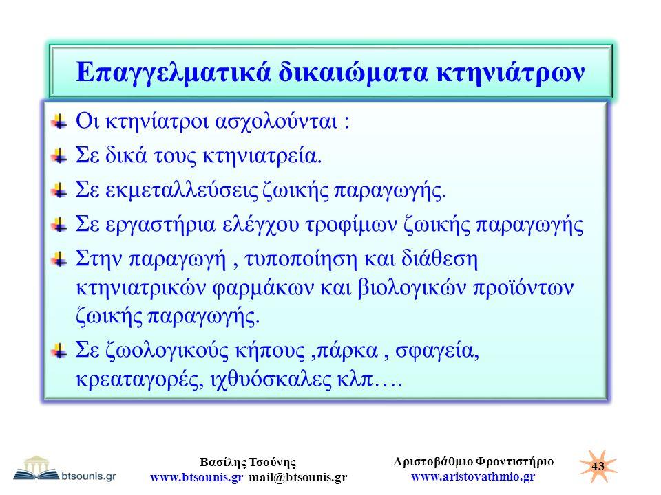 Αριστοβάθμιο Φροντιστήριο www.aristovathmio.gr Βασίλης Τσούνης www.btsounis.gr mail@btsounis.gr Επαγγελματικά δικαιώματα κτηνιάτρων Οι κτηνίατροι ασχο