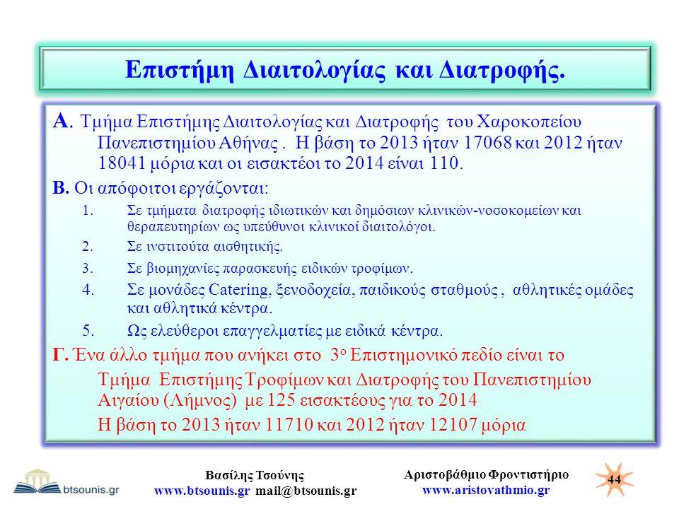 Αριστοβάθμιο Φροντιστήριο www.aristovathmio.gr Βασίλης Τσούνης www.btsounis.gr mail@btsounis.gr Επιστήμη Διαιτολογίας και Διατροφής. Α. Τμήμα Επιστήμη