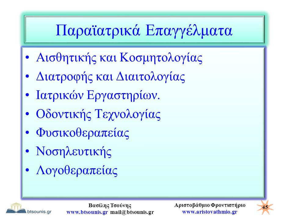 Αριστοβάθμιο Φροντιστήριο www.aristovathmio.gr Βασίλης Τσούνης www.btsounis.gr mail@btsounis.gr Παραϊατρικά Επαγγέλματα Αισθητικής και Κοσμητολογίας Δ