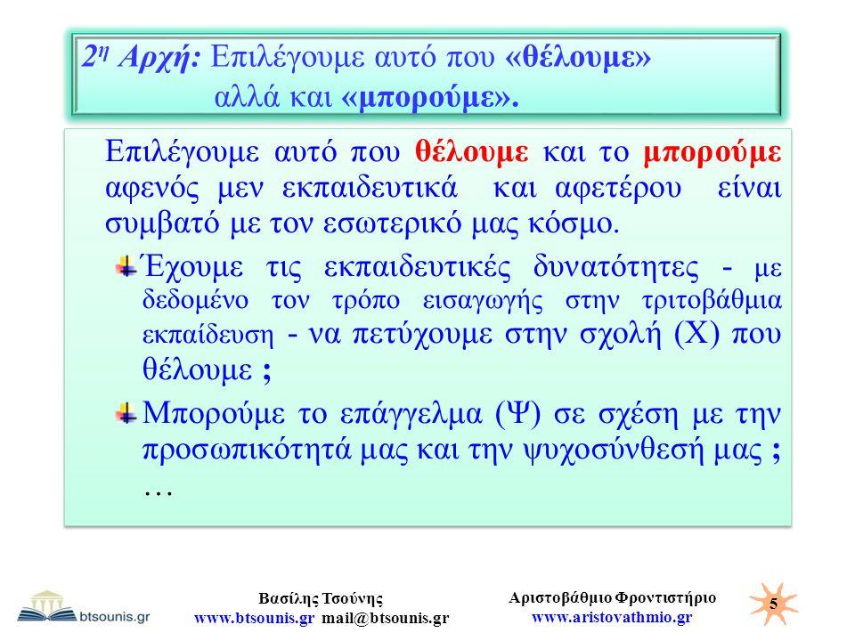 Αριστοβάθμιο Φροντιστήριο www.aristovathmio.gr Βασίλης Τσούνης www.btsounis.gr mail@btsounis.gr 2 η Αρχή: Επιλέγουμε αυτό που «θέλουμε» αλλά και «μπορ